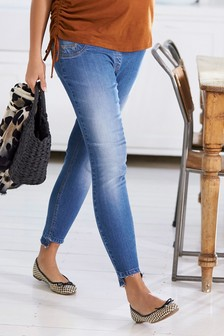 Maternity Fringe Hem Jeans