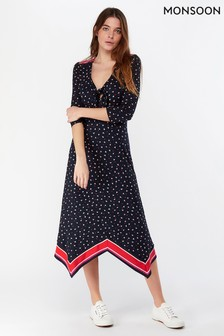 Monsoon Ladies Navy Gili Print Hanky Hem Dress