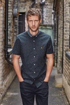 Contrast Collar Stretch Oxford Shirt