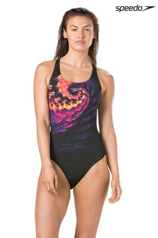 Speedo® Black Swirly Wave Powerback Swimsuit