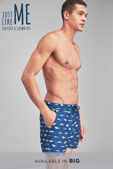 Matching Family Mens Shark Print Swim Shorts