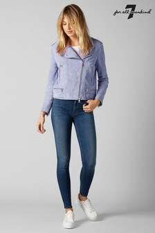 7 For All Mankind® Skinny Jeans mit hoher Taille, Indigo-Waschung