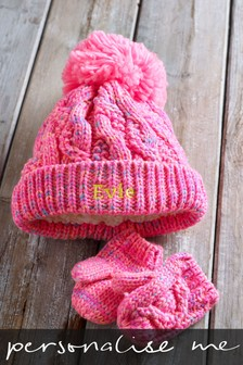Personalised Cable Knit Hat Set