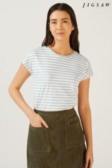 Jigsaw Relaxed Cotton Slub Stripe T-Shirt