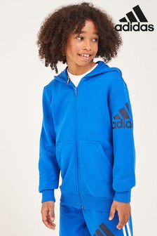 adidas Badge Of Sport Blue Zip Through Hoody