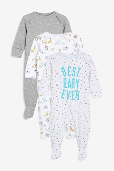 Multi Character/Slogan Sleepsuits Three Pack (0mths-2yrs)