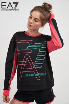 EA7 Black Neon Logo Cropped Sweat Top