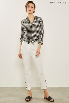 Mint Velvet White/Ivory Button Hem Cotton Capri