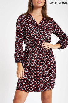 River Island Black Geo Print Tea Dress