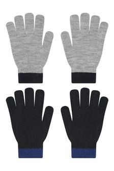 Boys Grey Gloves Set