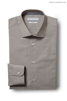 Chemise French Connection slim en chambray tabac à poignet simple