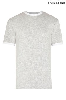 River Island Grey Light Space Dye Slim T-Shirt