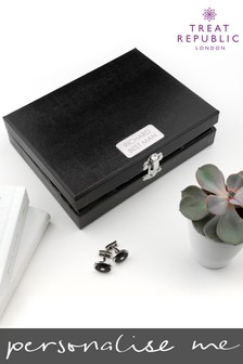 Personalised 12 Compartment Cufflink Box by Treat Republic