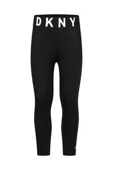 Girls Black Cotton Jersey Leggings