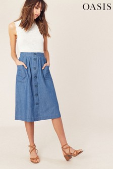 Oasis Blue Chambray Button Skirt