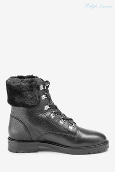 Ralph Lauren Black Waterproof Leather Hiking Boots