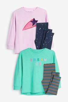 2 Pack Slogan Legging Pyjamas (3-16yrs)