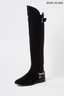 a04f757f4ad River Island Black Flat Over The Knee Chain Boot