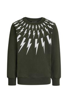 Boys Olive Cotton Logo Print Sweatshirt