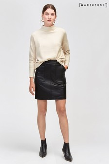 Warehouse Black Pocket Detail PU Skirt