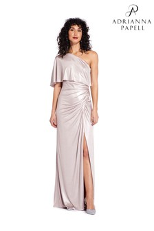 Adrianna Papell Pink Metallic Draped Gown