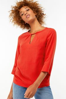 Monsoon Red Penelope Twist Front Blouse
