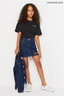 Calvin Klein Jeans Blue Logo Denim Skirt