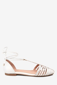 Leather Plaited T-Bar Sandals