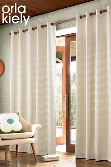 Orla Kiely Jacquard Stem Geo Lined Eyelet Curtains