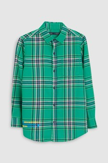 Long Sleeve Longline Check Shirt With Badges (3-16yrs)