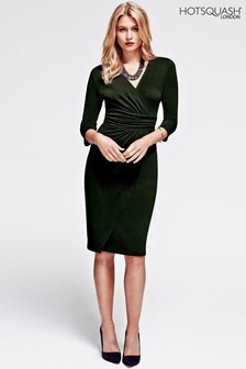 HotSquash Bottle Green Ascot Mock Wrap Dress