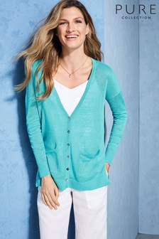 Pure Collection Blue Linen Boyfriend Cardigan