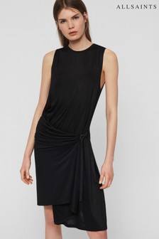 AllSaints Black Wrap Lisen Dress