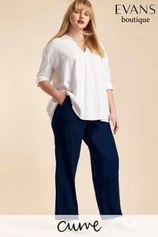 Evans Curve Navy Linen Blend Trouser