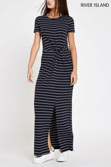 River Island Blue T-Shirt Twist Detail Dress