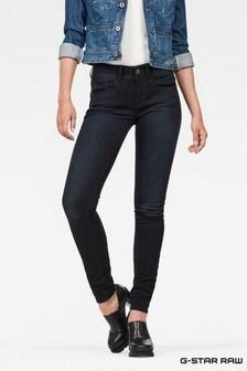 G-Star Lynn Skinny Jeans mit mittelhohem Bund in dunkler Rinsed-Waschung