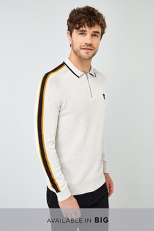 Overarm Stripe Zip Neck Polo