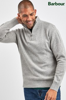Barbour® Light Grey Essential Half Zip Jumper
