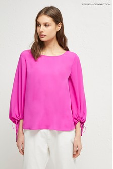 French Connection Pink Puff Sleeve Blouse