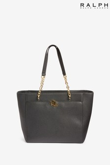 Ralph Lauren Leather Langdon Monogram Tote Bag