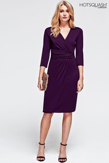 HotSquash Damson Ascot Mock Wrap Dress