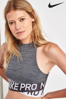 Nike Pro Grey Intertwist Cropped Tank