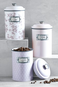 Set of 3 Floral Storage Tins