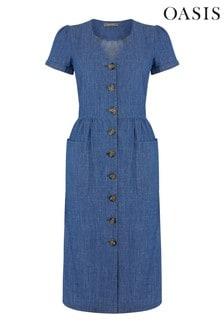Oasis Blue Button Through Midi Dress