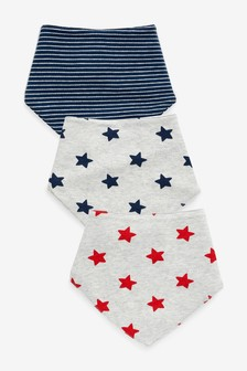 3 Pack Stripe And Star Dribble Bibs