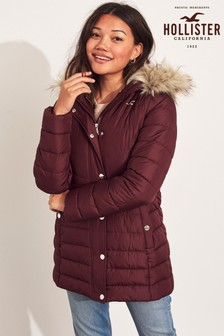 Hollister Burgundy Longline Padded Parka Jacket