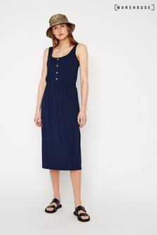 Warehouse Button Through Cami Midi Dress