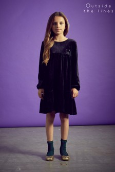 Outside The Lines Black Tiered Sparkle Velour Dress
