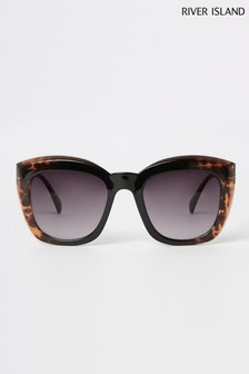 River Island Brown Print Glam Tort Sunglasses