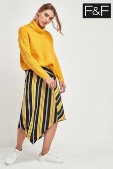 F&F Yellow Stripe Asymmetric Skirt